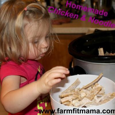adding homemade noodles