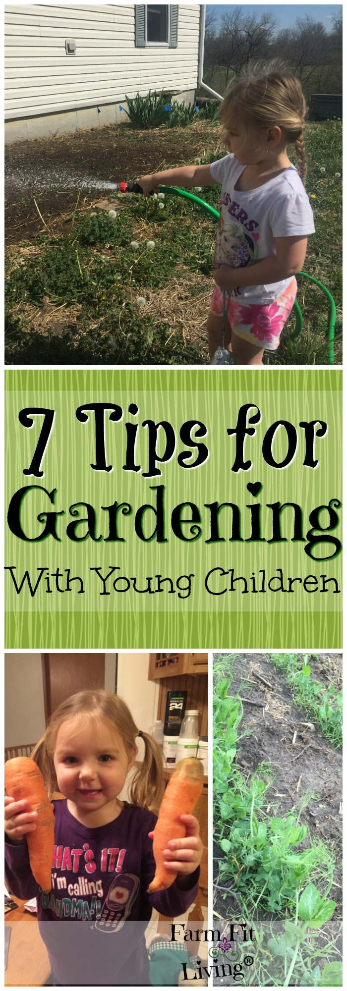 Love to garden but have super young kids? Here are 7 tips for gardening with children ages pre-K and younger. Learn to engage and help them learn along with you