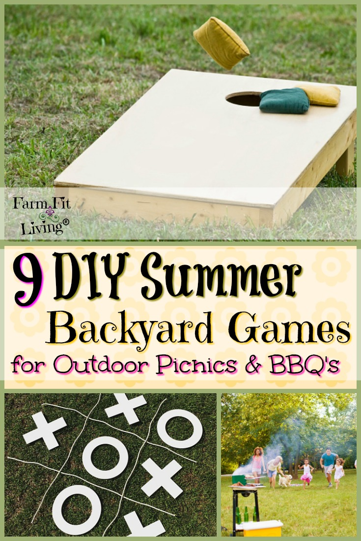 Are you searching for some fun DIY Summer backyard games to engage your guests at your upcoming get together? Here are 9 fun activities for all ages that you can make yourself that will be a hit. #summerfun