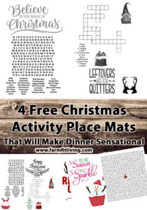 free Christmas Activity place mats